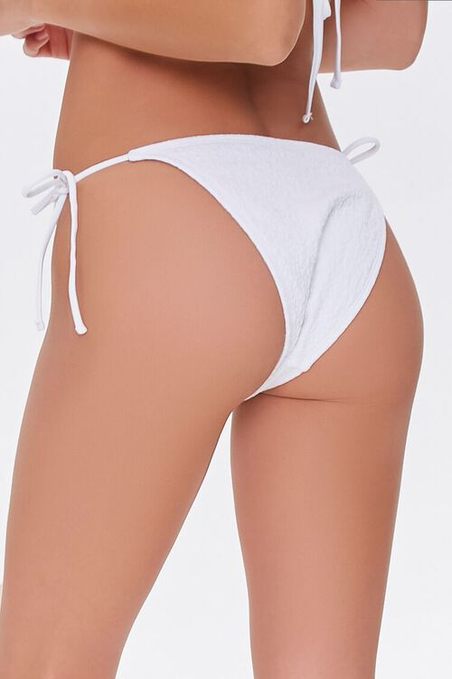 WHITE Textured Spotted Print String Bikini Bottoms, image 4