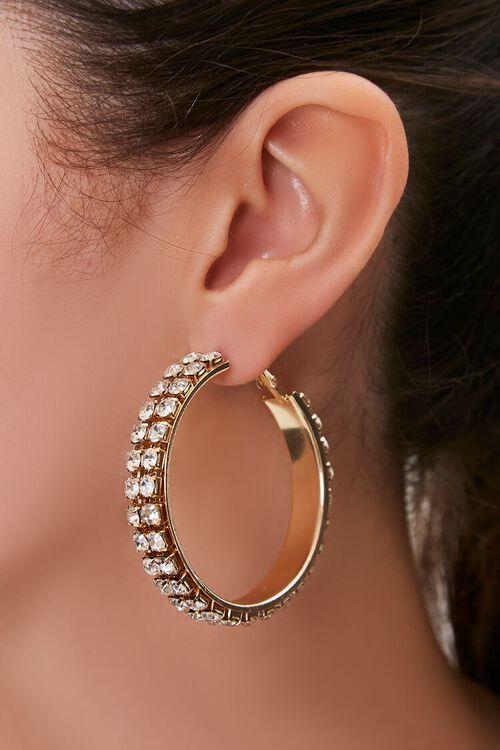 Rhinestone Statement Hoop Earrings, image 1
