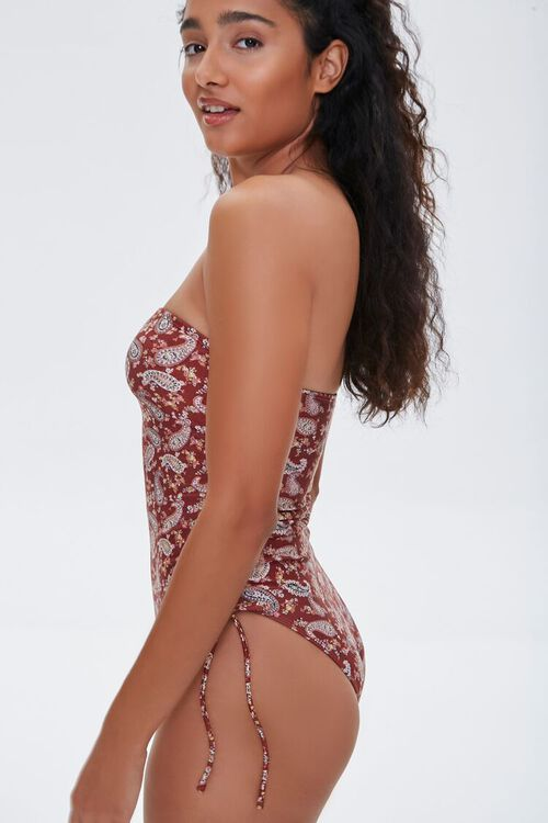 Paisley Strapless One-Piece Swimsuit, image 2