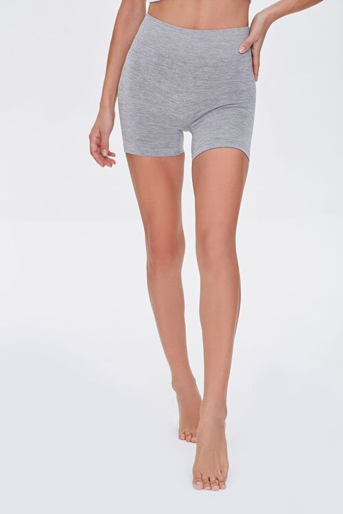 Seamless Heathered Biker Shorts, image 2