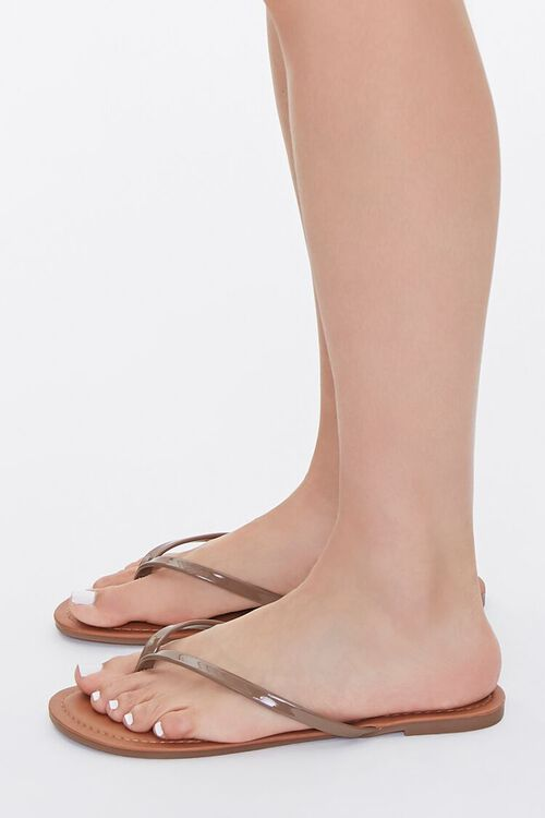 Faux Patent Leather Thong Sandals, image 1
