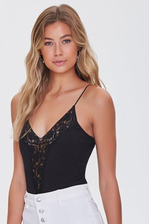 Lace-Trim Cami Bodysuit, image 1