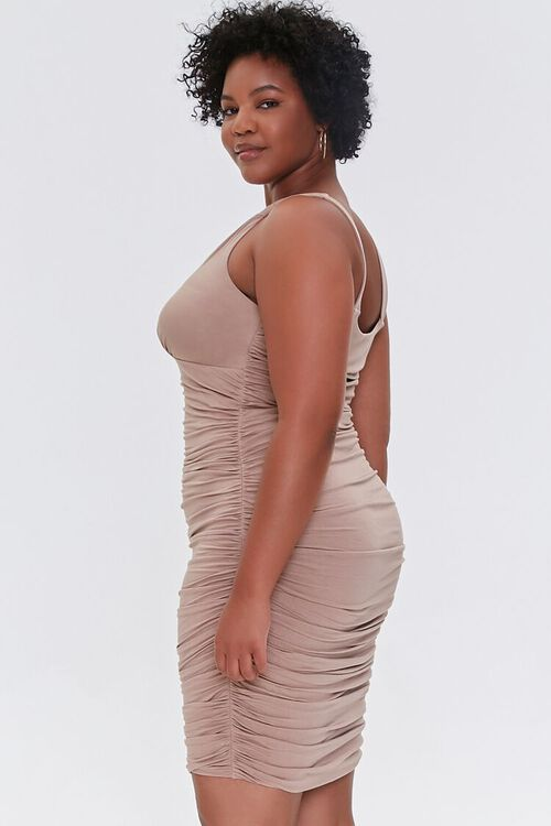 TAUPE Plus Size Ruched Bodycon Dress, image 2