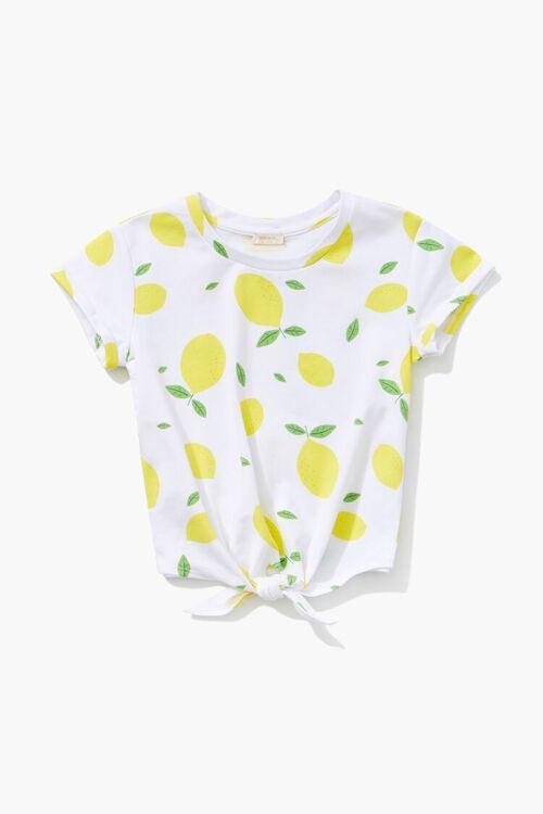 Girls Lemon Print Knotted Tee (Kids), image 1