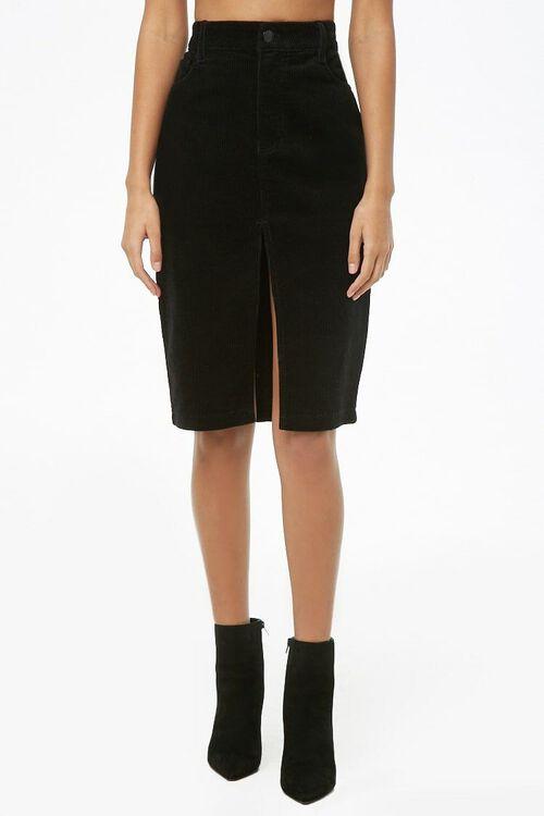 Slit Corduroy Pencil Skirt, image 2