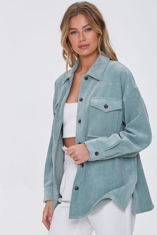 SAGE Corduroy Button-Front Shacket, image 1