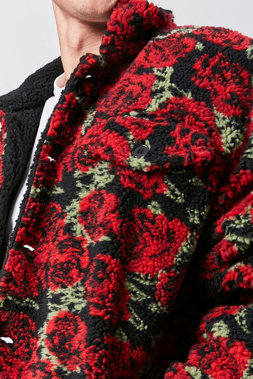 Faux Shearling Rose Print Jacket, image 5