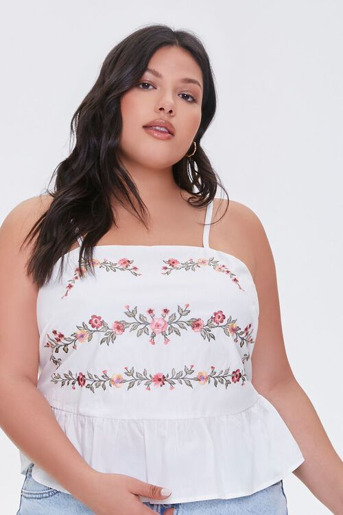 Plus Size Embroidered Floral Cami, image 1