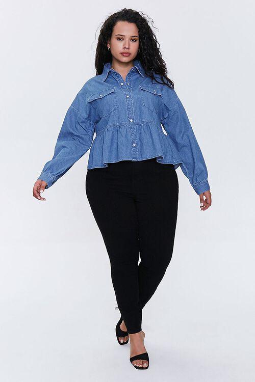 Plus Size Denim Flounce-Hem Shirt, image 5