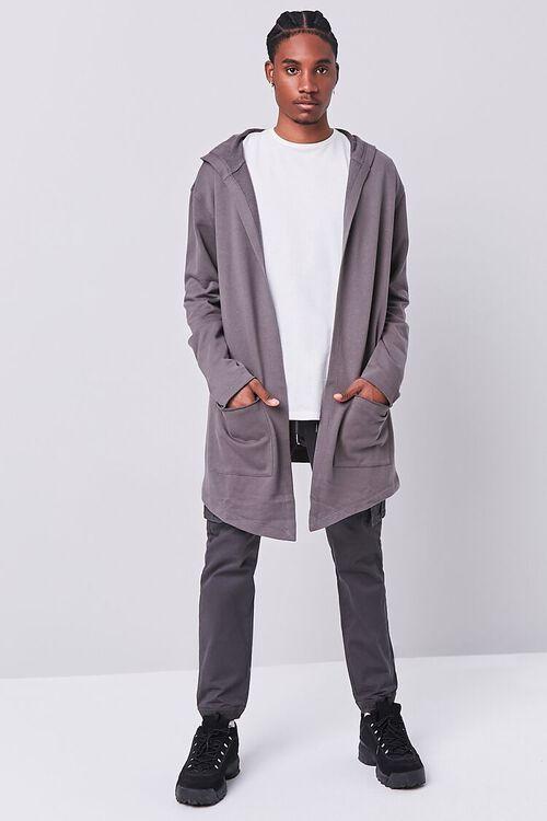 GREY Longline Hooded Cardigan Sweater, image 4