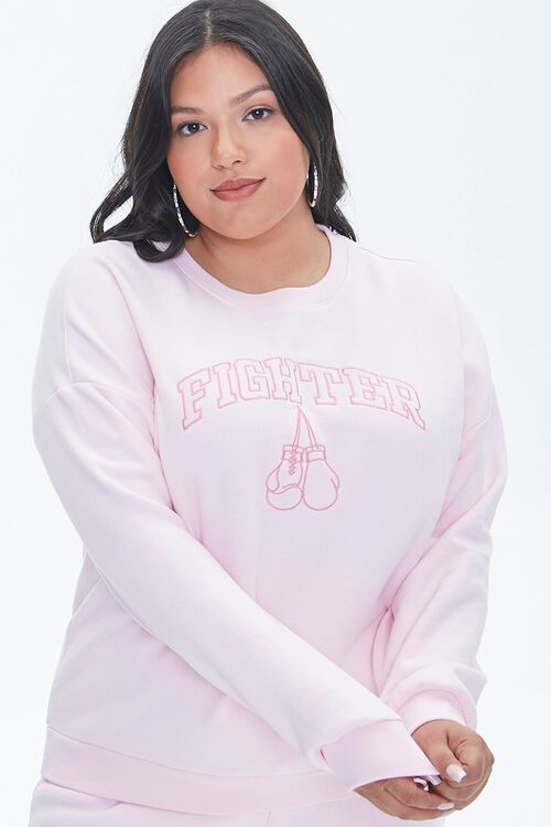 LIGHT PINK/PINK Plus Size Stand Up To Cancer Fighter Pullover, image 1