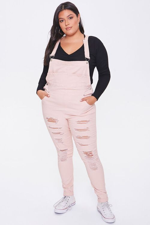 Plus Size Distressed Overalls, image 4