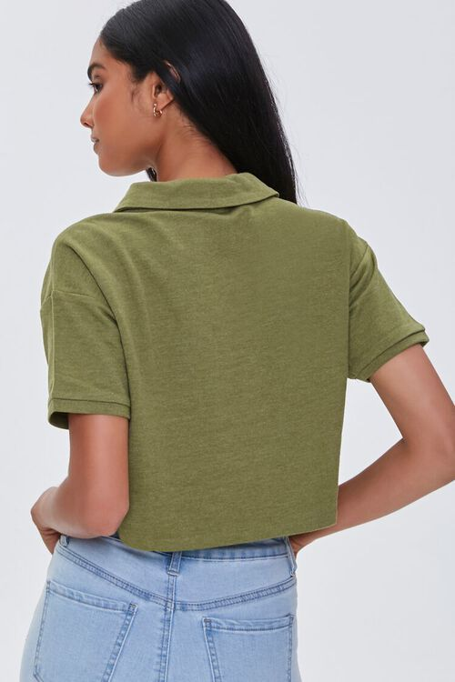 LIGHT OLIVE Cropped Polo Shirt, image 3