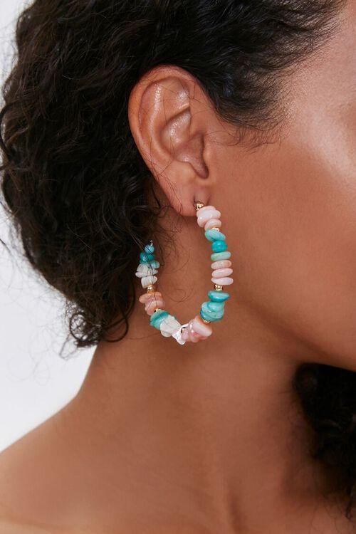 Beaded Puka Shell Hoop Earrings, image 1