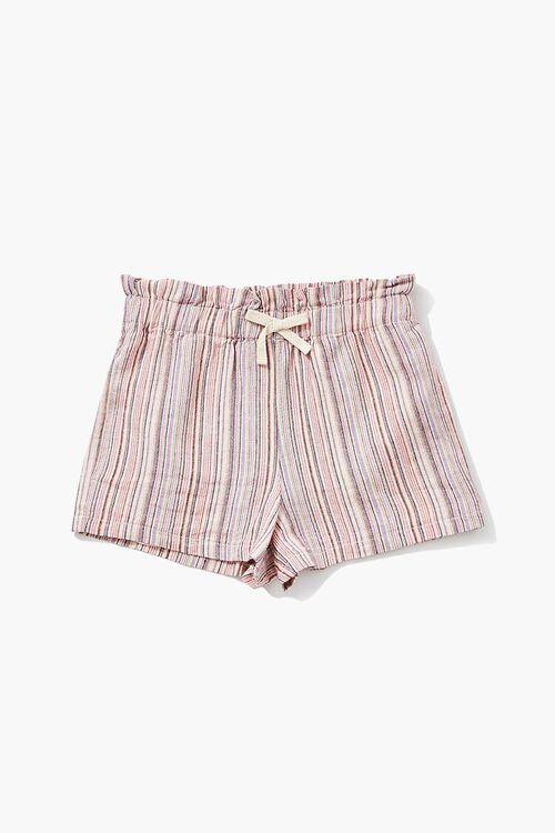 PINK/MULTI Girls Linen-Blend Paperbag Shorts (Kids), image 1