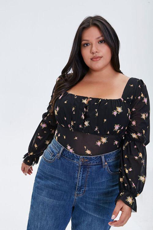 Plus Size Floral Print Bodysuit, image 1