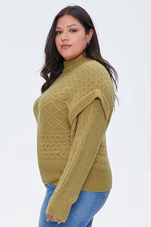 Plus Size Layered Mock Neck Sweater, image 2