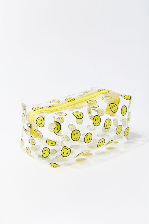YELLOW/MULTI Smiling Face Print Pouch, image 1
