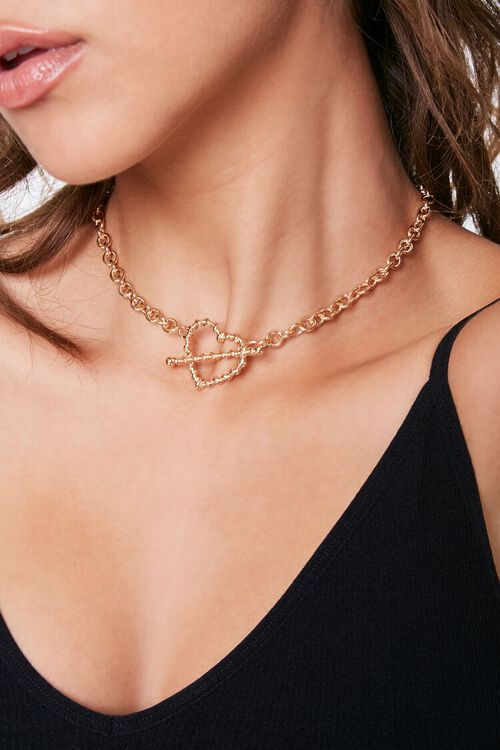 GOLD Heart Cutout Toggle Necklace, image 1