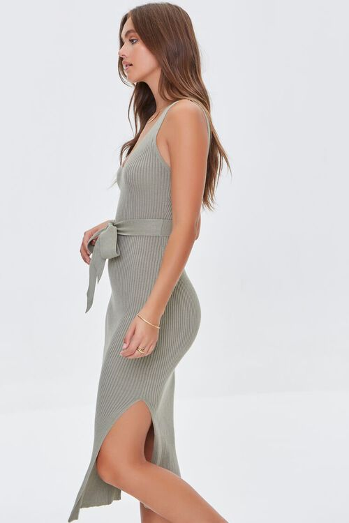 LIGHT OLIVE Belted Ribbed Bodycon Dress, image 2