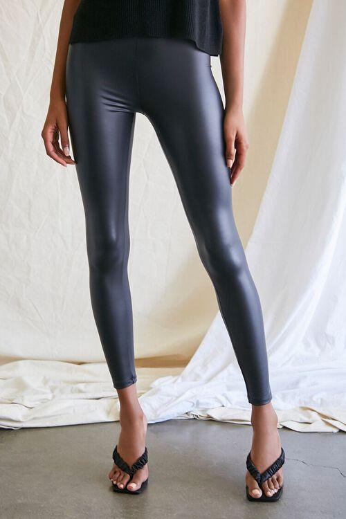 BLACK Faux Leather High-Rise Leggings, image 2