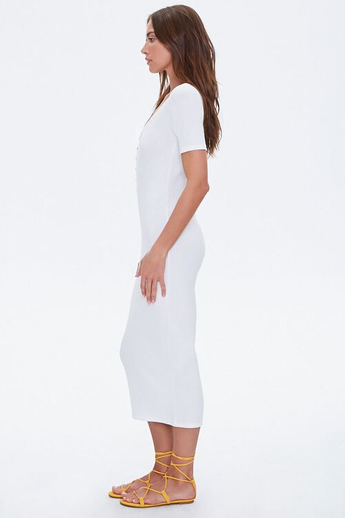 Ribbed Button-Front Midi Dress, image 2