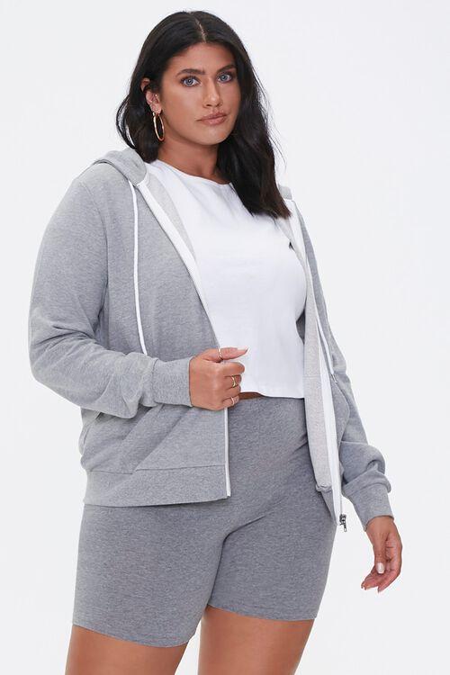 Plus Size Drawstring Zip-Up Hoodie, image 1
