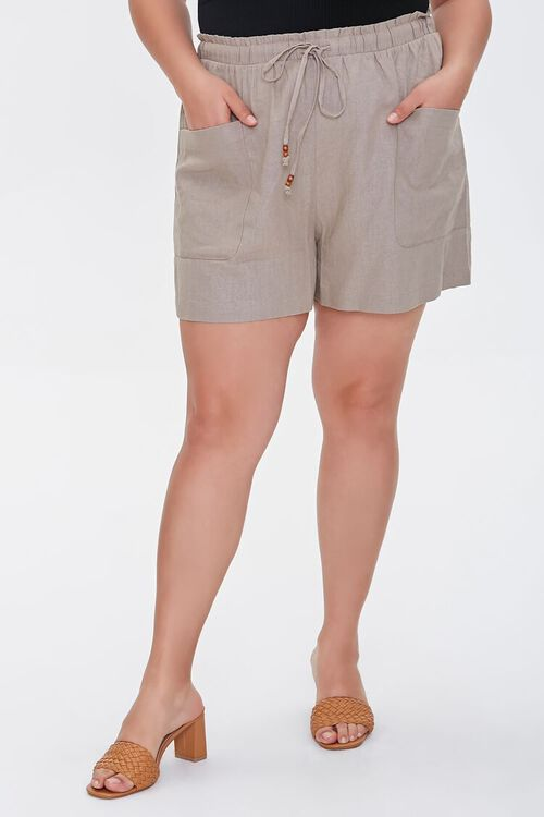 Plus Size Linen Paperbag Shorts, image 2