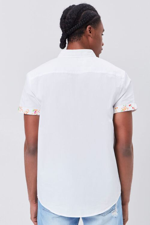 WHITE/MULTI Floral-Trim Fitted Shirt, image 3