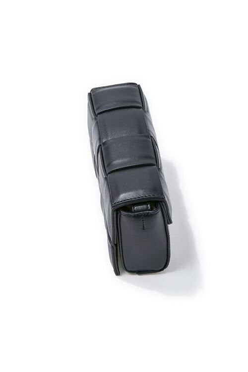 BLACK Faux Leather Crosshatch Crossbody Bag, image 2