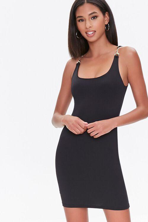 Mini Bodycon Chain-Strap Dress, image 1