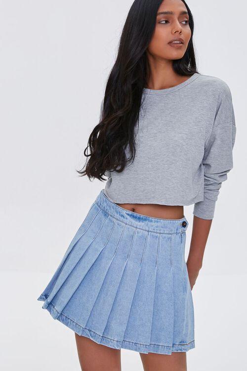 LIGHT DENIM Denim Knife Pleat Mini Skirt, image 1