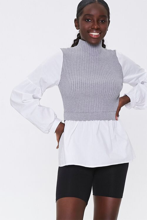 Sweater-Knit Combo Top, image 1