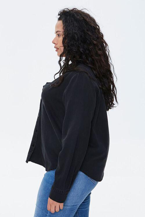 WASHED BLACK Plus Size Cotton Curved Shirt, image 2