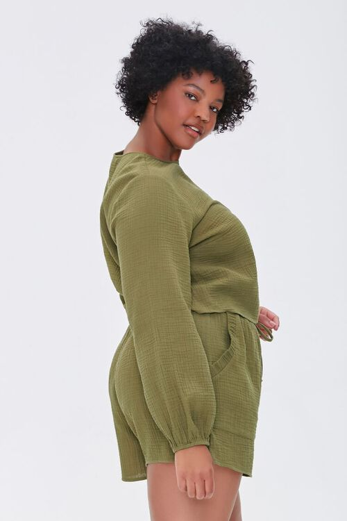 OLIVE Plus Size Peasant Sleeve Top, image 2