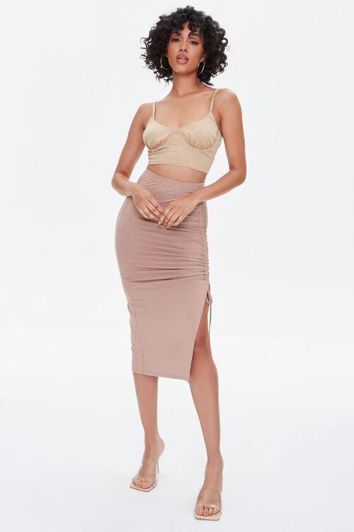 Ruched Drawstring Bodycon Midi Skirt, image 5