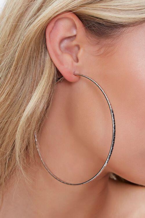 SILVER Textured Hoop Earrings, image 1