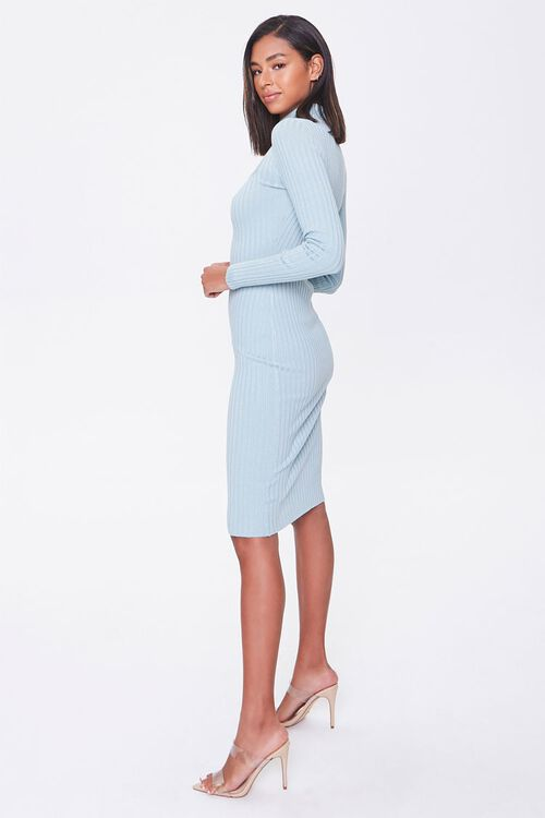 Ribbed Mock Neck Sweater Dress, image 2