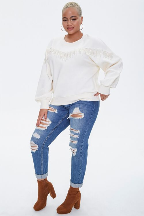 Plus Size Faux Pearl-Trim Sweater, image 4