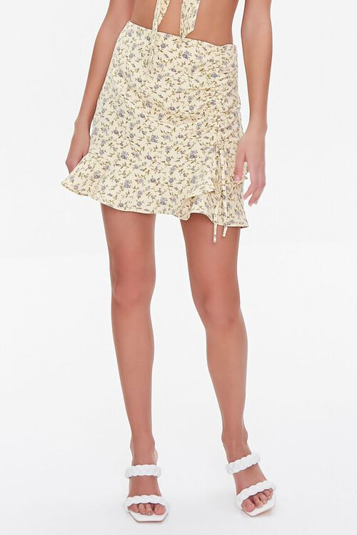 YELLOW/MULTI Floral Print Crop Top & Skirt Set, image 6