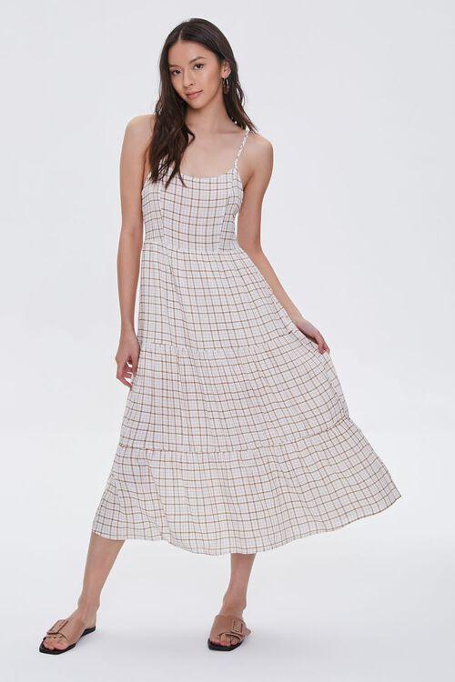 Plaid Cami Midi Dress, image 1