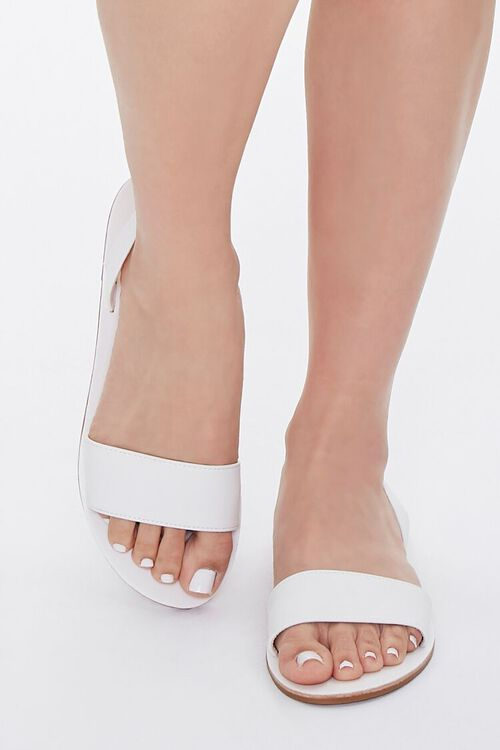 WHITE Faux Leather Slingback Sandals, image 4