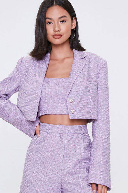 Cropped Tweed Faux Pearl Blazer, image 1