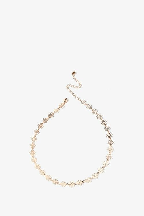 GOLD Floral Charm Choker, image 1