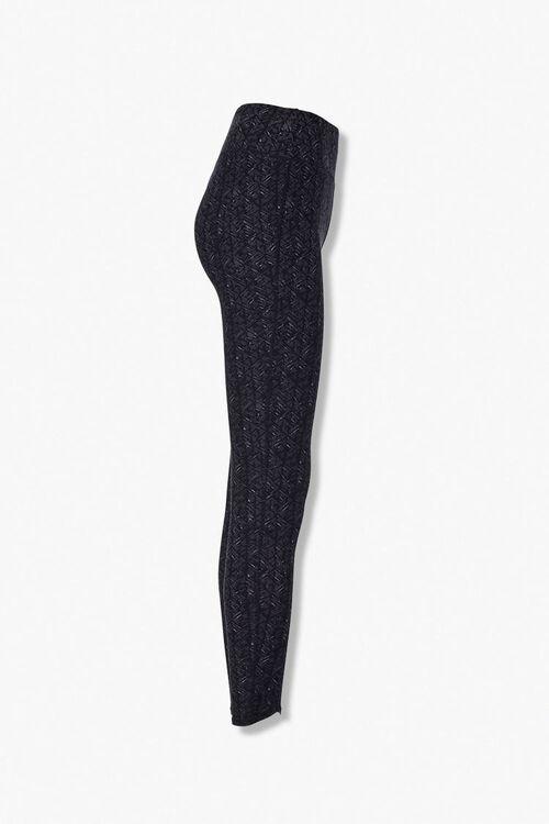 BLACK/CHARCOAL Marled Knit Geo Leggings, image 2