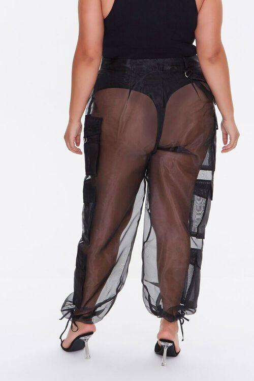 Plus Size Sheer Organza Cargo Pants, image 3