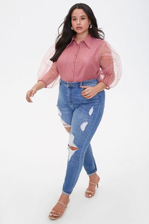 Plus Size Clip Dot Organza Shirt, image 4