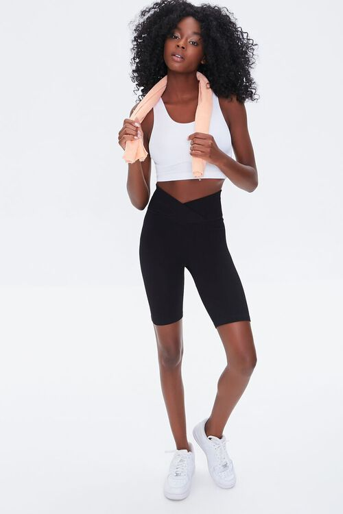BLACK Active Seamless Notched Biker Shorts, image 5