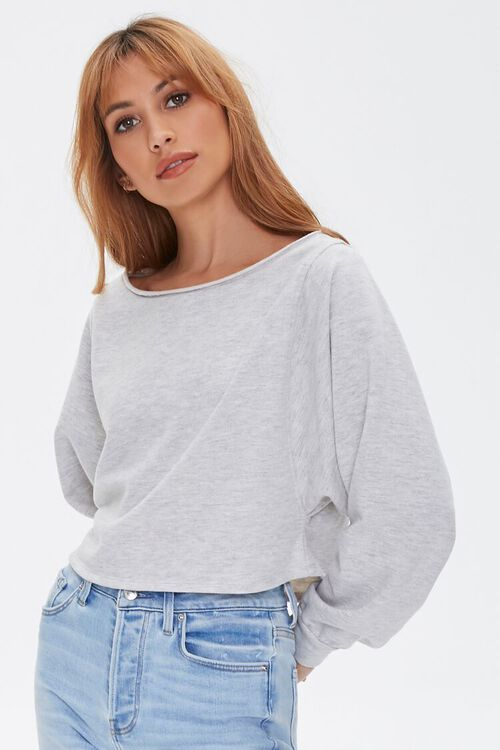 HEATHER GREY French Terry Pullover, image 1