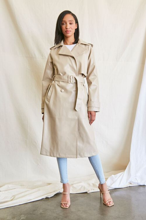DESERT SAND Faux Leather Trench Coat, image 6
